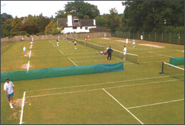 The lawn grass tennis courts at the Tunbridge Wells Lawn Tennis Club in Kent.